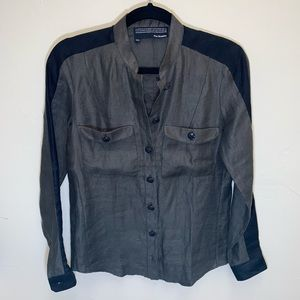 The Kooples Linen Military style buttondown SZ XXS